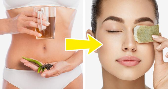 Kết thân với trà xanh  Trà xanh là nguyên liệu giúp bạn đẹp từ trong ra ngoài. Trà xanh giàu chất chống oxy hóa, giúp tăng cường quá trình phục hồi tế bào da. Đặc tính chống viêm của trà xanh còn làm dịu các vết mẩn đỏ do kích ứng. Uống trà xanh thường xuyên giúp làm đẹp da từ bên trong. Túi lọc trà sau khi sử dụng có thể dùng đắp lên vùng da dưới mắt để xóa mờ quầng thâm và bọng mắt.