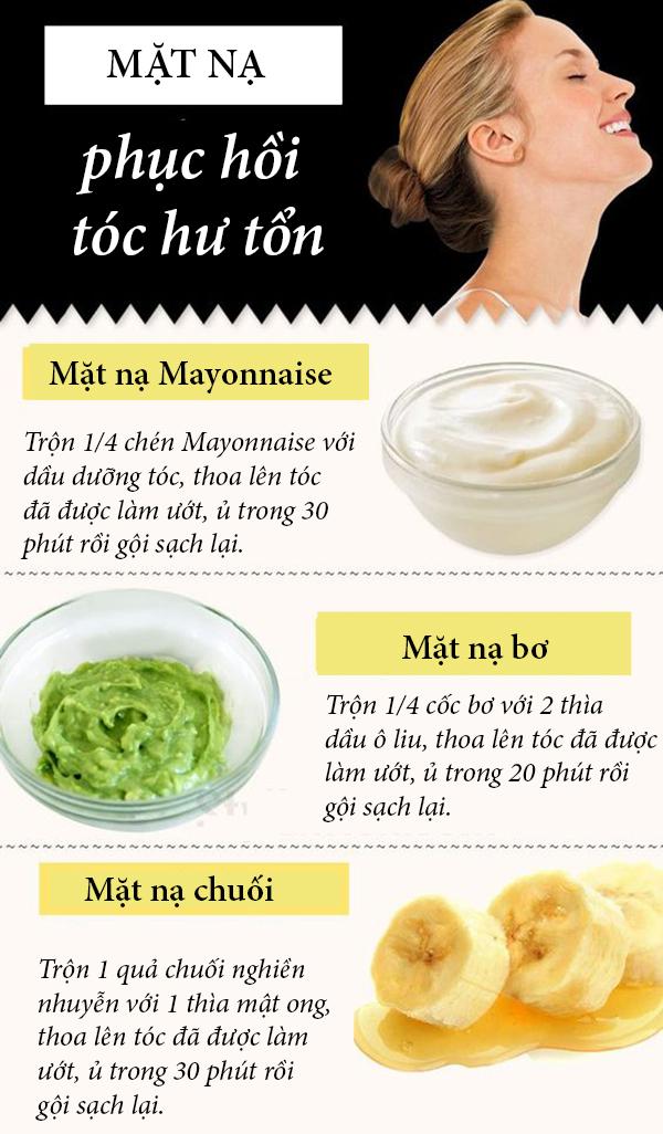 7. 3 công thức mặt nạ phục hồi tóc hư tổn