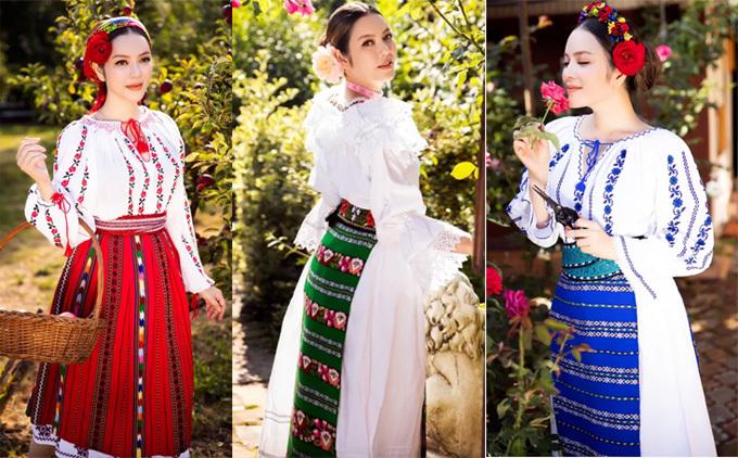 Lỹ Nhã Kỳ thường xuyên kết hợp công việc, du lịch và chụp các bộ ảnh thời trang tại mỗi nơi cô đến. Trong ảnh, người đẹp mặc trang phục họa tiết truyền thống của Rumania dạo chơi, ngắm cảnh thiên nhiên khi công tác tại đây.