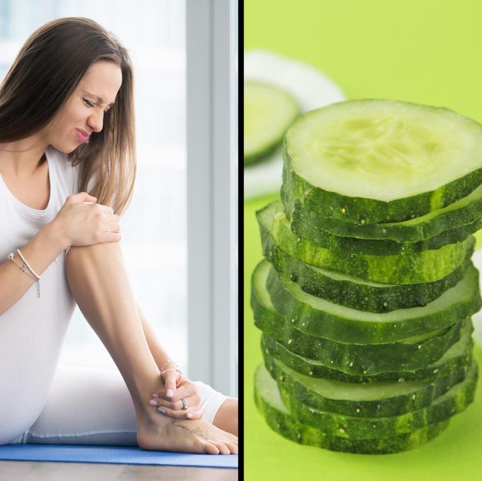 Giảm đau khớp  Thái lát một quả dưa chuột, cho vào chậu nước nóng. Ngâm chân trong chậu khoảng 20 phút để làm giảm đau khớp và giảm chân sưng nề.