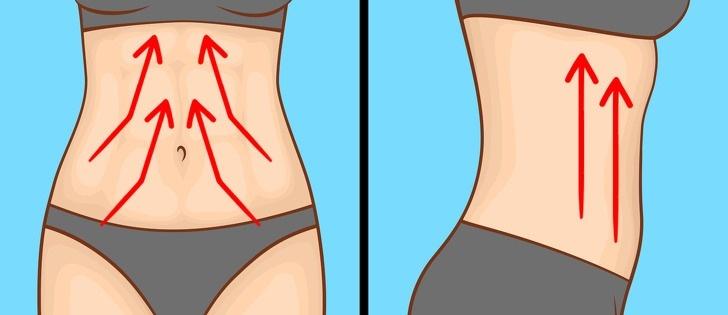 Đặt ngón tay lên hai bên bụng, nhẹ nhàng massage theo hướng lên trên, về phía tim, lặp lại 5 - 10 lần. Tiếp tục đặt tay ở hai bên hông, kéo căng da về phía nách, lặp lại 5 - 7 lần đối với mỗi bên. Đây là kỹ thuật lưu dẫn hệ bạch huyết giúp đào thải độc tố, giảm ứ đọng dịch, giúp da săn chắc,…