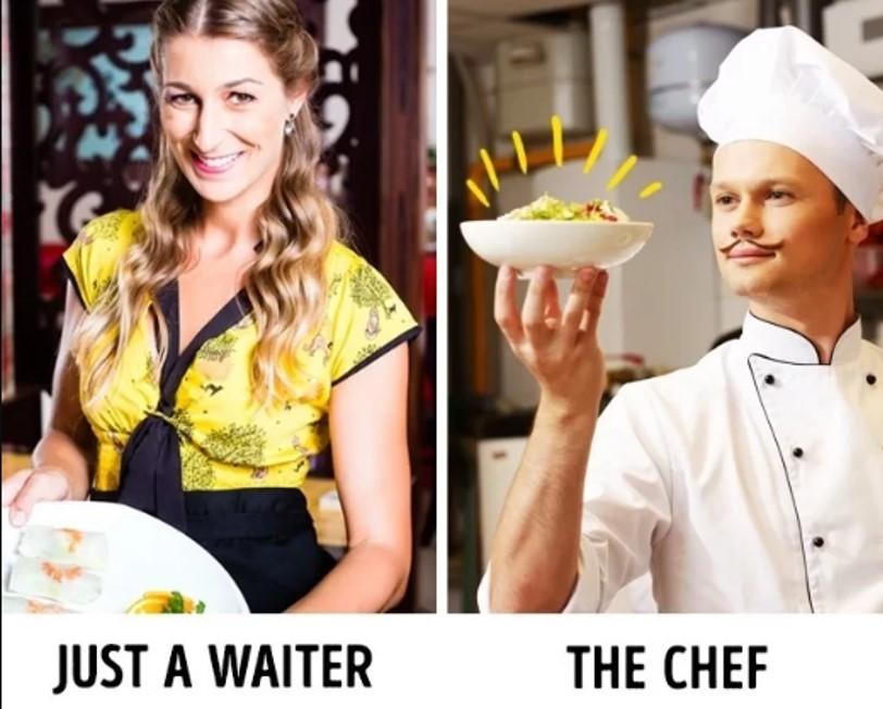 """Tận dụng danh tiếng của đầu bếp Danh tiếng của những vị đầu bếp thường rất có sức ảnh hưởng. Bất kỳ món ăn nào được đóng mác """"đặc sản của đầu bếp"""" sẽ luôn nổi bật trong mắt khách hàng khiến họ nhanh chóng chọn lựa. Đó là chưa kể đến một số món ăn đặc biệt còn được đích thân các đầu bếp bưng ra bàn. Do đó, một số phục vụ còn đóng giả làm đầu bếp khi đứng trước khách hàng."""