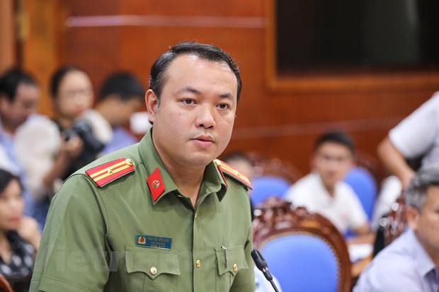 Thiếu tá Nguyễn Hữu Đức – Phó Giám đốc Công an tỉnh Hòa Bình) cho biết, hiện vụ việc vẫn đang trong quá trình điều tra. (Ảnh: Minh Sơn/Vietnam+)