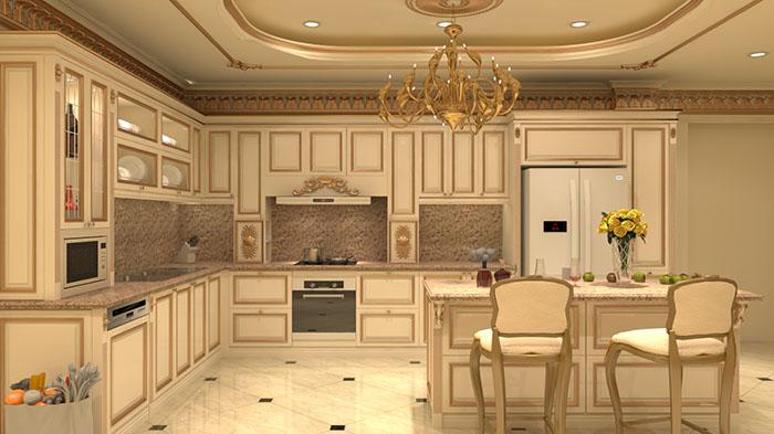 3. Mẫu phòng bếp cổ điển đẹp dành cho nhà biệt thự