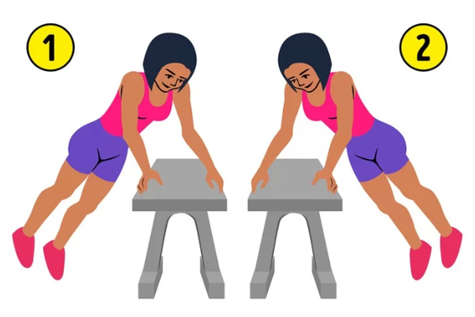 Chuẩn bị một chiếc ghế dài có độ cao , hai tay chống vào hai bên cạnh ghế, bật nhảy qua hai bên liên tục 15 lần.