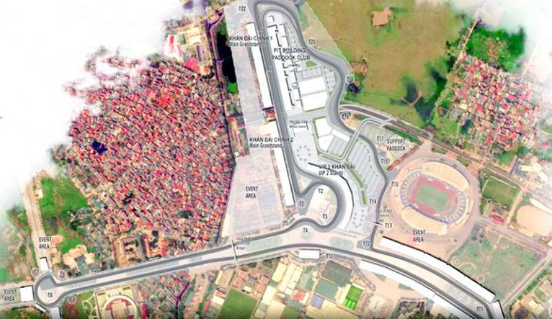 Mô hình đường đua F1 quanh khi liên hợp thể thao quốc gia Mỹ Đình (Nguồn ảnh: Báo Tuổi trẻ).