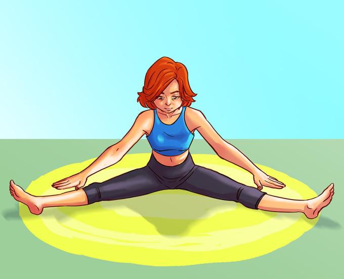 Tư thế mở rộng hai chân Ngồi thẳng, hai chân mở rộng hết mức có thể, hai tay duỗi thẳng hướng về phía bàn chân, hít sâu. Thở ra từ từ, hạ thấp người, cúi về phía trước. Lặp lại động tác 8 - 10 lần trong 1 phút. Tư thế này giúp giảm đau lưng, kích thích máu lưu thông ở xương chậu, cải thiện chức năng của buồng trứng, điều hòa chu kỳ kinh nguyệt.