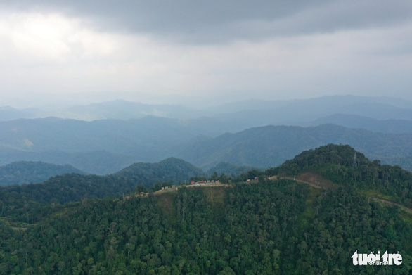 Đỉnh Quế hùng vĩ giữa những cánh rừng nguyên sinh bạt ngàn - Ảnh: TẤN LỰC