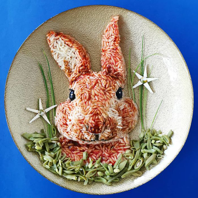 Nghệ thuật tạo hình đĩa thức ăn hình con vật9