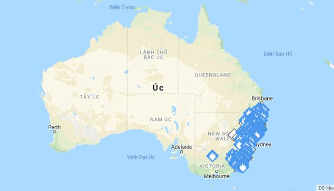 Bản đồ cháy rừng Australia. Khu vực có biểu tượng ngọn lửa tập trung ở bờ biển Đông Nam