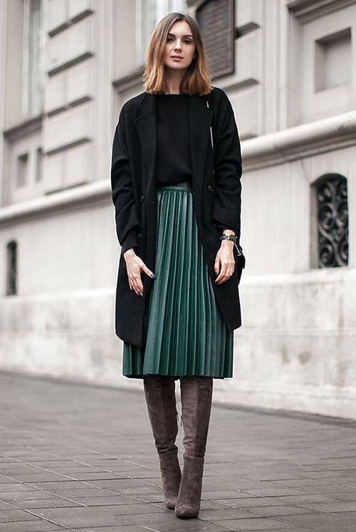 8.Phối các kiểu áo khoác với chân váy midi1