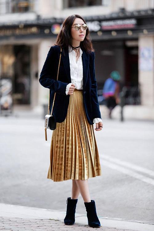 8.Phối các kiểu áo khoác với chân váy midi2