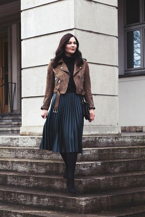 8.Phối các kiểu áo khoác với chân váy midi6