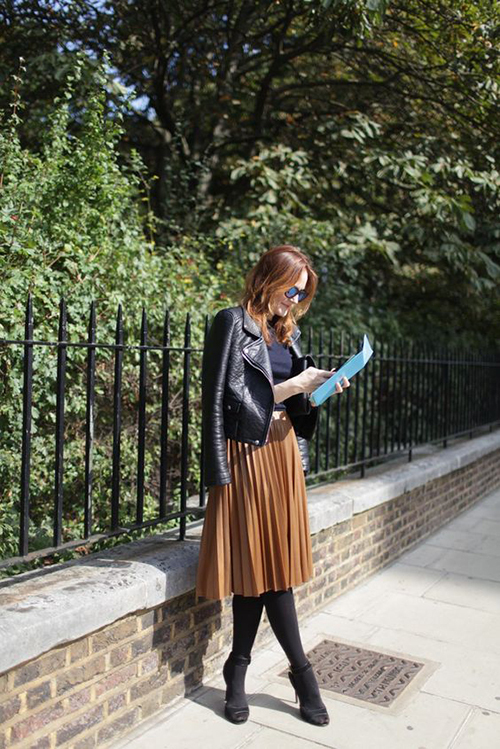 8.Phối các kiểu áo khoác với chân váy midi8