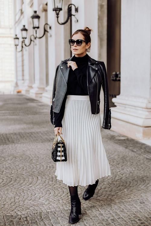 8.Phối các kiểu áo khoác với chân váy midi9