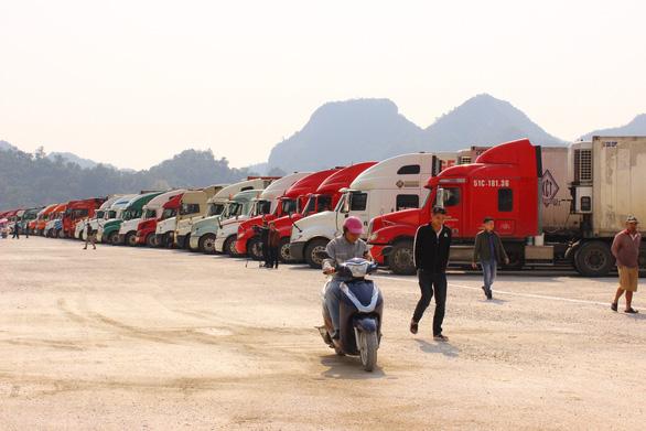 Hàng trăm xe container hoa quả đông lạnh đang nằm chờ tại bãi xe cửa khẩu Tân Thanh - Ảnh: B.NGỌC