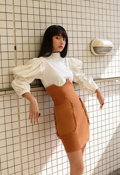 23.Sao Việt mê váy lưng cao, áo tay bồng2