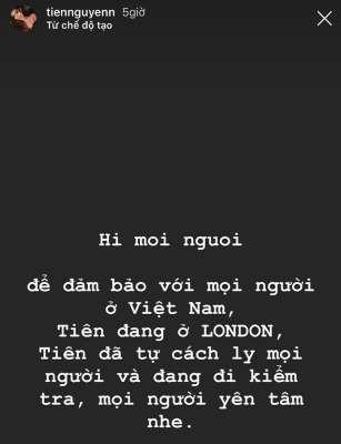 Tiên Nguyễn đăng tải trên trang cá nhân về tình hình của mình