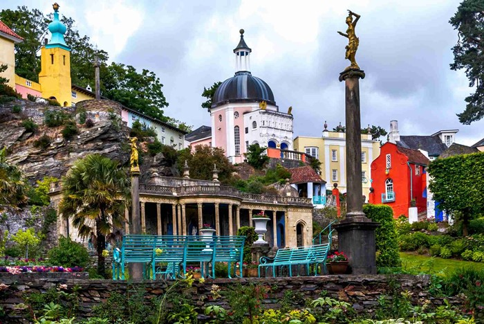 Holiday resort village of Portmeirion, North Wales, UK.