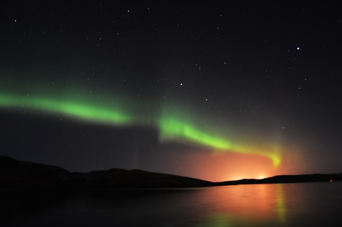 Aurora borealis in Scotland, Shetland Islands in winter